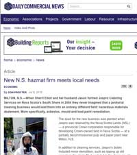 Jaspro Environmental Services - Daily Commercial News article 'New N.S. hazmat firm meets local needs' - July 2015